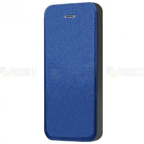 """Apple iPhone SE (5, 5s) """"Shiny"""" atverčiamas mėlynas odinis dėklas - knygutė"""