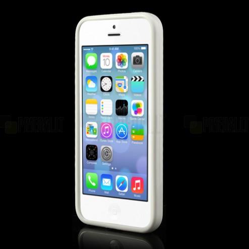 Skaidrus/baltas su kieto silikono rėmu plastikinis Apple iPhone 5C dėklas