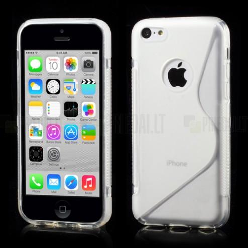 Skaidrus matinis silikoninis Apple iPhone 5C dėklas (dėkliukas)