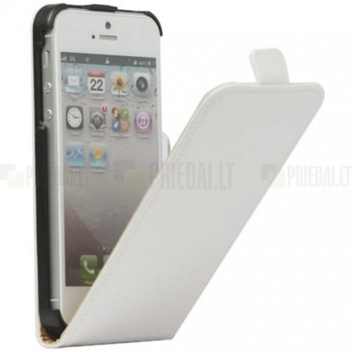 Klasikinis vertikaliai (į apačią, žemyn) atverčiamas baltas odinis Apple iPhone SE (5, 5s) dėklas