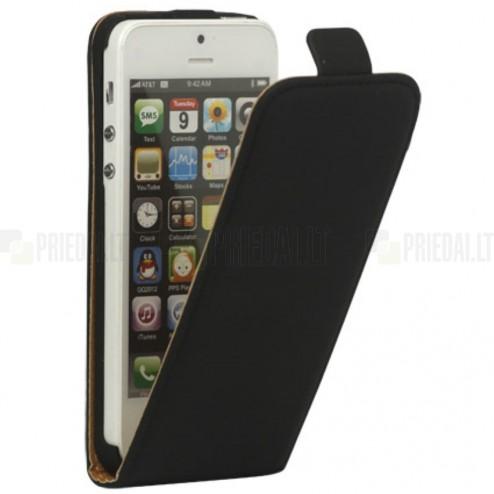 Klasikinis vertikaliai (į apačią, žemyn) atverčiamas juodas odinis Apple iPhone SE (5, 5s) dėklas