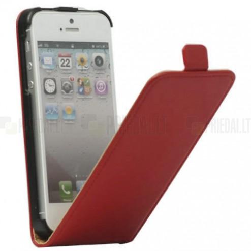 Klasikinis vertikaliai (į apačią, žemyn) atverčiamas raudonas odinis Apple iPhone SE (5, 5s) dėklas