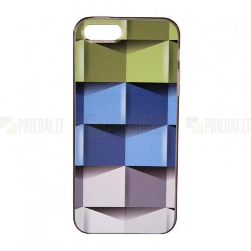 """""""Bullet"""" Apple iPhone SE (5, 5s) kieto silikono TPU dėklas - Cubes (Kubai)"""