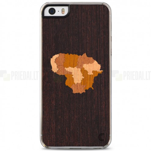 """Apple iPhone SE (5, 5s) """"Crafted Cover"""" Lietuva natūralaus medžio dėklas (tamsus medis)"""