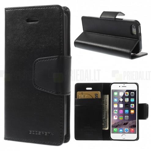 Mercury Sonata atverčiamas Apple iPhone SE (5, 5s) juodas odinis dėklas - piniginė