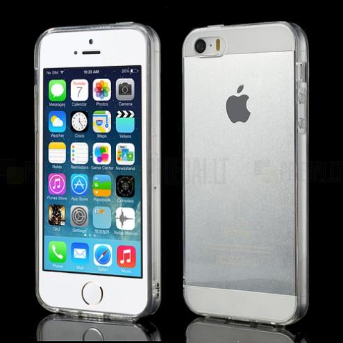 Apple iPhone SE (5, 5s) skaidrus (permatomas) kieto silikono TPU ploniausias pasaulyje dėklas