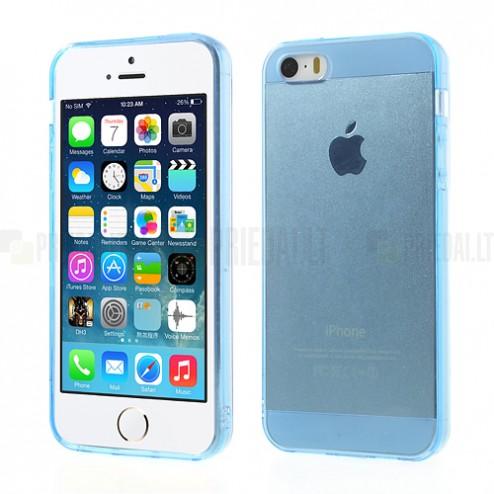 Apple iPhone SE (5, 5s) skaidrus mėlynas kieto silikono TPU ploniausias pasaulyje dėklas