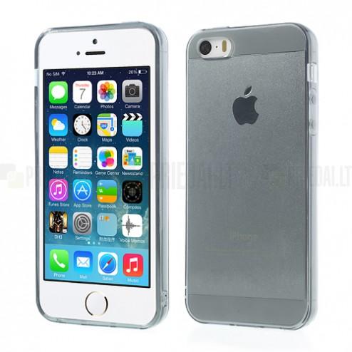 Apple iPhone SE (5, 5s) skaidrus pilkas kieto silikono TPU ploniausias pasaulyje dėklas