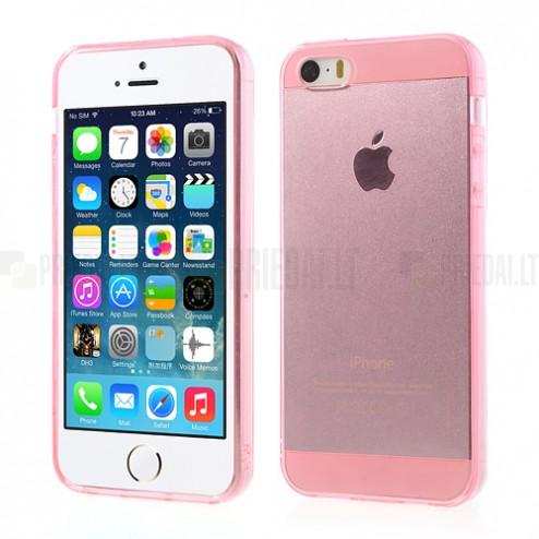 Apple iPhone SE (5, 5s) skaidrus rožinis kieto silikono TPU ploniausias pasaulyje dėklas