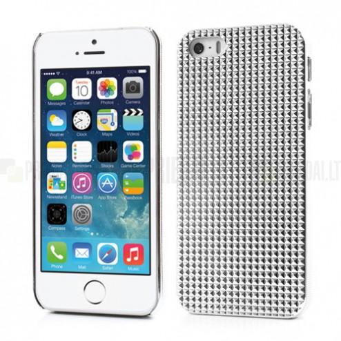 Baltas stilingas reljefinis 3D Apple iPhone SE (5, 5s) dėklas (dėkliukas, nugarėlė)