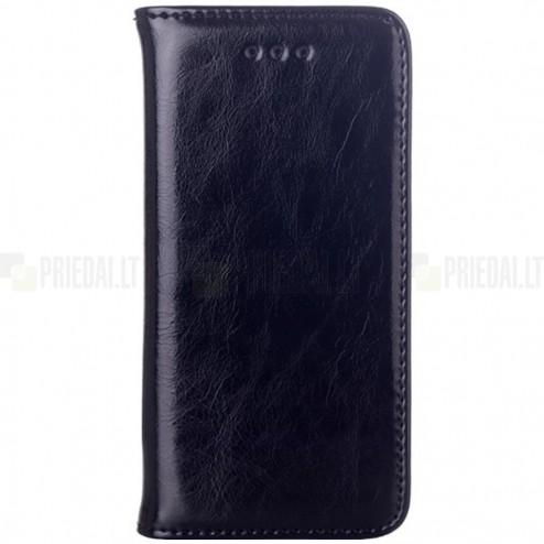 Apple iPhone SE (5, 5s) solidus atverčiamas juodas odinis dėklas - knygutė