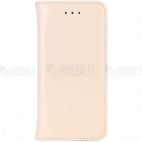 Apple iPhone SE (5, 5s) solidus atverčiamas smėlio (dramblio kaulo) spalvos odinis dėklas - knygutė