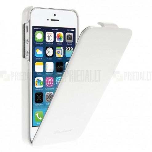 Apple iPhone SE (5, 5s) vertikaliai (žemyn, į apačią) atverčiamas klasikinis baltas dėklas