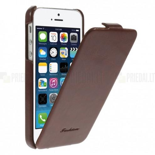 Apple iPhone SE (5, 5s) vertikaliai (žemyn, į apačią) atverčiamas klasikinis rudas dėklas