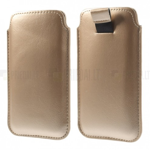 Auksinė odinė įmautė telefonui (L dydis - Apple iPhone 6)