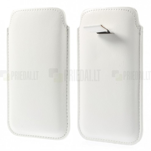 Balta odinė įmautė telefonui (L dydis - Apple iPhone 6)