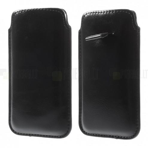 Juoda odinė įmautė telefonui (L dydis - Apple iPhone 6)