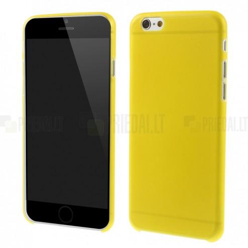Ploniausias pasaulyje plastikinis skaidrus Apple iPhone 6 (6s) geltonas dėklas - nugarėlė
