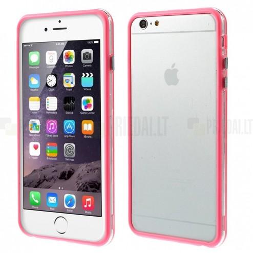 Apple iPhone 6 Plus (6s Plus) skaidrus permatomas rėmelis (kraštų apvadas, bamperis) - rožinis