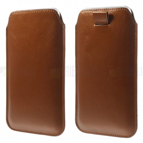 Ruda odinė įmautė telefonui (XL dydis - Apple iPhone 6 Plus)