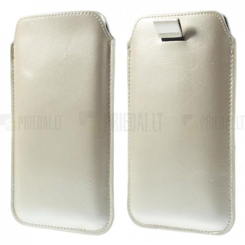Smėlio (dramblio kaulo) spalvos odinė įmautė telefonui (XL dydis - Apple iPhone 6 Plus)