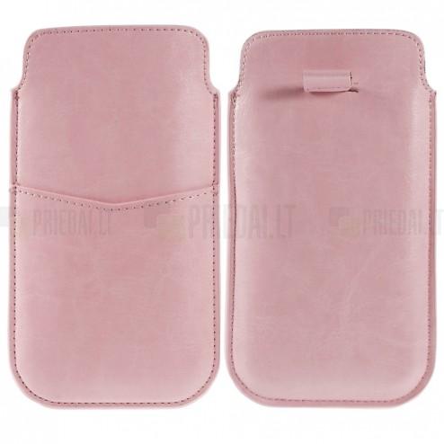 Rožinė odinė universali Apple iPhone 6 plus įmautė (XL+ dydis) su kišenėle kortelėms