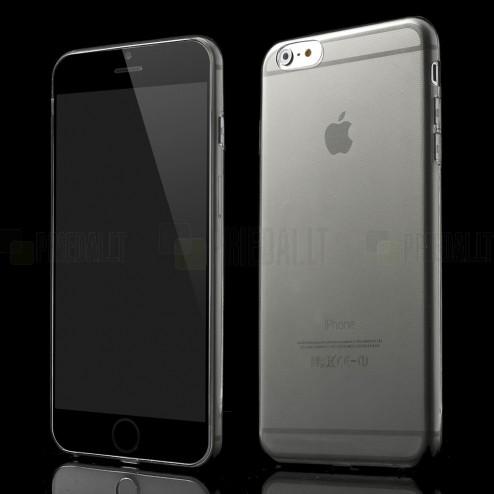 Apple iPhone 6 Plus (6s Plus) skaidrus (permatomas) kieto silikono TPU ploniausias pasaulyje pilkas dėklas