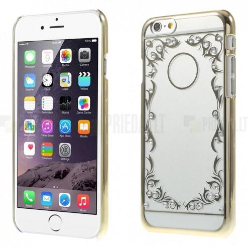 Apple iPhone 6 (6s) raštuotas plastikinis skaidrus (permatomas) auksinis dėklas - nugarėlė