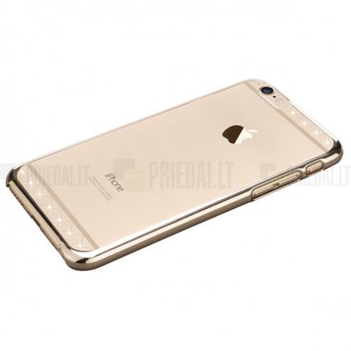 Apple iPhone 6 (6s) X-Fitted Crystal Icon Pro Lace Swarovski plastikinis skaidrus permatomas auksinis dėklas su kristalais