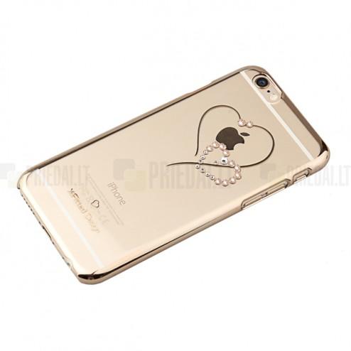 Apple iPhone 6 (6s) X-Fitted Crystal Icon Pro Telesthesia Swarovski plastikinis skaidrus permatomas auksinis dėklas su kristalais