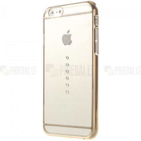 Apple iPhone 6 (6s) X-Fitted Crystal Icon Pro Waterdrop Swarovski plastikinis skaidrus permatomas auksinis dėklas su kristalais