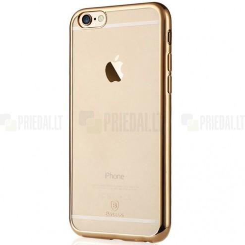 """Apple iPhone 6 (6s) """"Baseus"""" Shining Case TPU silikoninis skaidrus permatomas itin plonas dėklas su auksiniu rėmeliu"""
