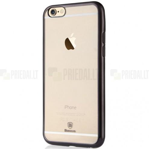 """Apple iPhone 6 (6s) """"Baseus"""" Shining Case TPU silikoninis skaidrus permatomas itin plonas dėklas su juodu rėmeliu"""