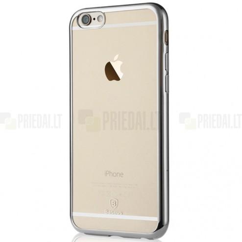 """Apple iPhone 6 (6s) """"Baseus"""" Shining Case TPU silikoninis skaidrus permatomas itin plonas dėklas su sidabriniu rėmeliu"""