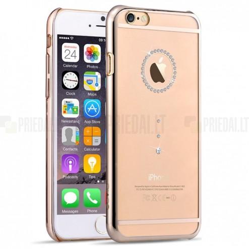 Apple iPhone 6 (6s) Devia Crystal Diamante Swarovski plastikinis skaidrus permatomas auksinis dėklas su kristalais