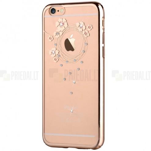 Apple iPhone 6 (6s) Devia Crystal Garland Swarovski plastikinis skaidrus permatomas auksinis dėklas su kristalais
