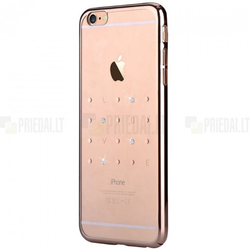 Apple iPhone 6 (6s) Devia Crystal Love Swarovski plastikinis skaidrus permatomas auksinis dėklas su kristalais