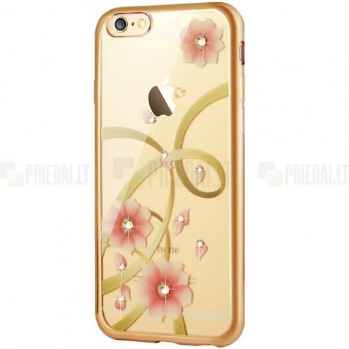 """Apple iPhone 6s """"JLW"""" Charming Orchid elegantiškas silikoninis TPU dėklas su auksiniais apvadais"""