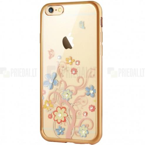 """Apple iPhone 6s """"JLW"""" Colorful Florets elegantiškas silikoninis TPU dėklas su auksiniais apvadais"""