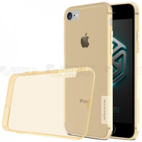 Apple iPhone 7 (iPhone 8) Nillkin Nature plonas skaidrus (permatomas) silikoninis TPU rudas dėklas