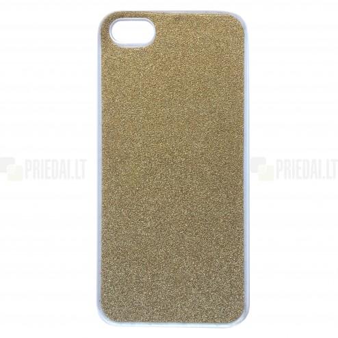 Apple iPhone SE (5, 5s) Glitter plastikinis auksinis dėklas - nugarėlė