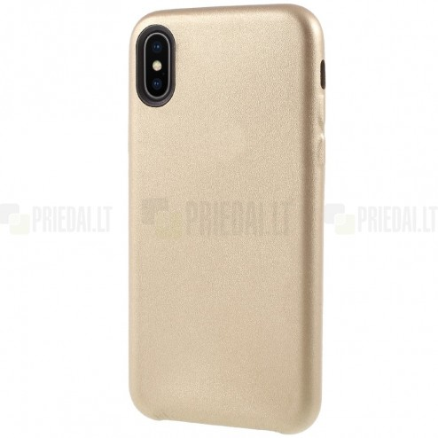 Soft Slim serijos Apple iPhone X (iPhone Xs) auksinis odinis dėklas - nugarėlė