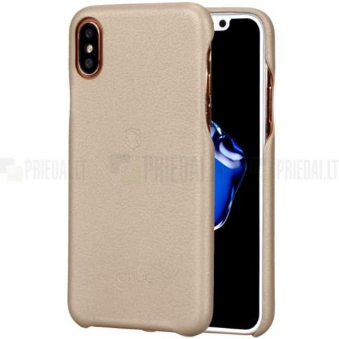 """""""Lenuo"""" Soft Slim serijos Apple iPhone X (iPhone Xs) auksinis odinis dėklas - nugarėlė"""