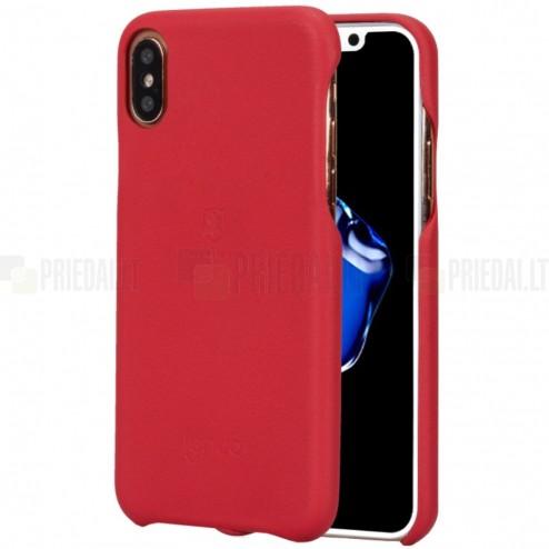 """""""Lenuo"""" Soft Slim serijos Apple iPhone X (iPhone Xs) raudonas odinis dėklas - nugarėlė"""