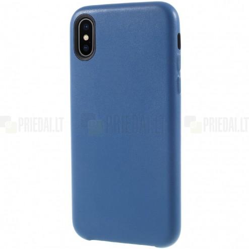 Soft Slim serijos Apple iPhone X (iPhone Xs) mėlynas odinis dėklas - nugarėlė