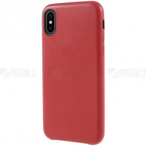 Soft Slim serijos Apple iPhone X (iPhone Xs) raudonas odinis dėklas - nugarėlė