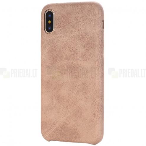 Slim Leather Apple iPhone X (iPhone Xs) smėlio spalvos odinis dėklas - nugarėlė