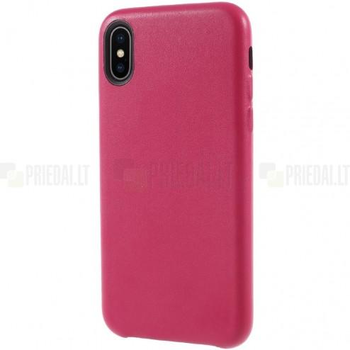 Soft Slim serijos Apple iPhone X (iPhone Xs) tamsiai rožinis odinis dėklas - nugarėlė
