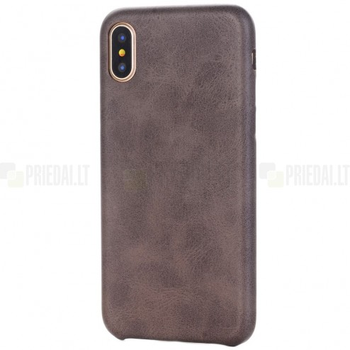 Slim Leather Apple iPhone X (iPhone Xs) tamsiai rudas odinis dėklas - nugarėlė