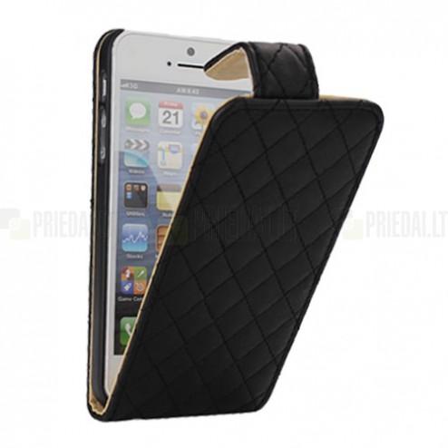 Rombinis atverčiamas juodas odinis Apple iPhone SE (5, 5s) dėklas (dėkliukas)